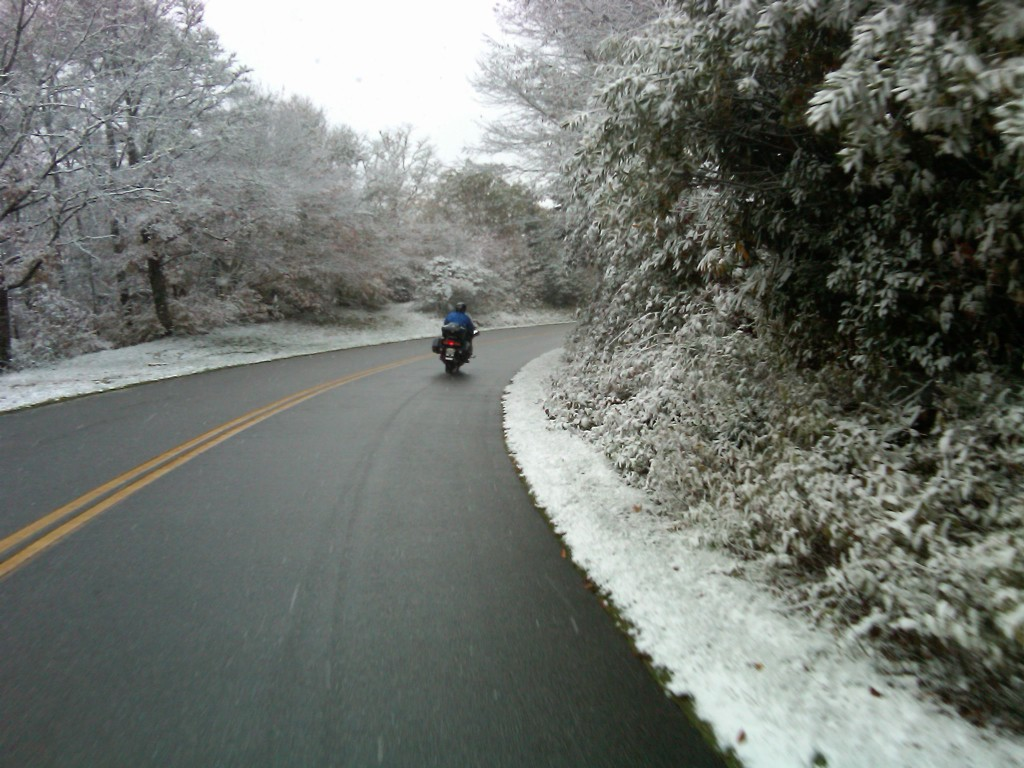 North Carolina Motorcycling Trip Snow