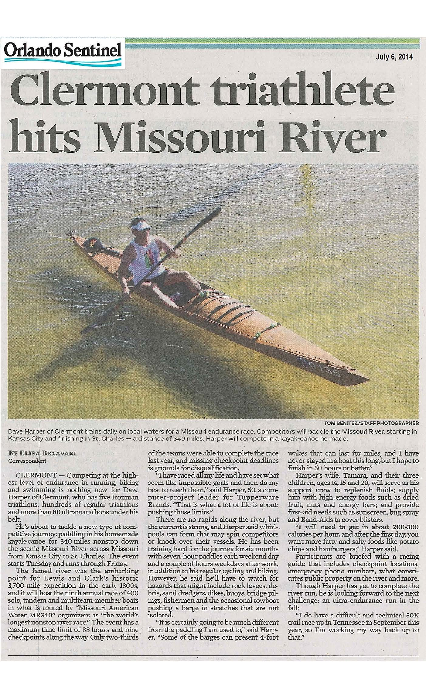 Missouri River 340 July 6 Newspaper Article